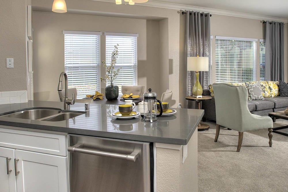 Kitchen over-looking the dining and living room at Iron Point at Prairie Oaks in Folsom, California