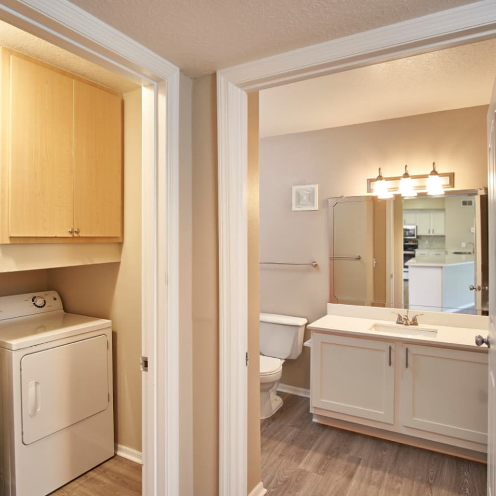 A luxury bathroom at Calais Park Apartments in St Petersburg, Florida