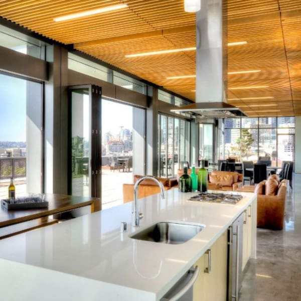 Community kitchen at The Nolo at Stadium Place in Seattle, Washington\