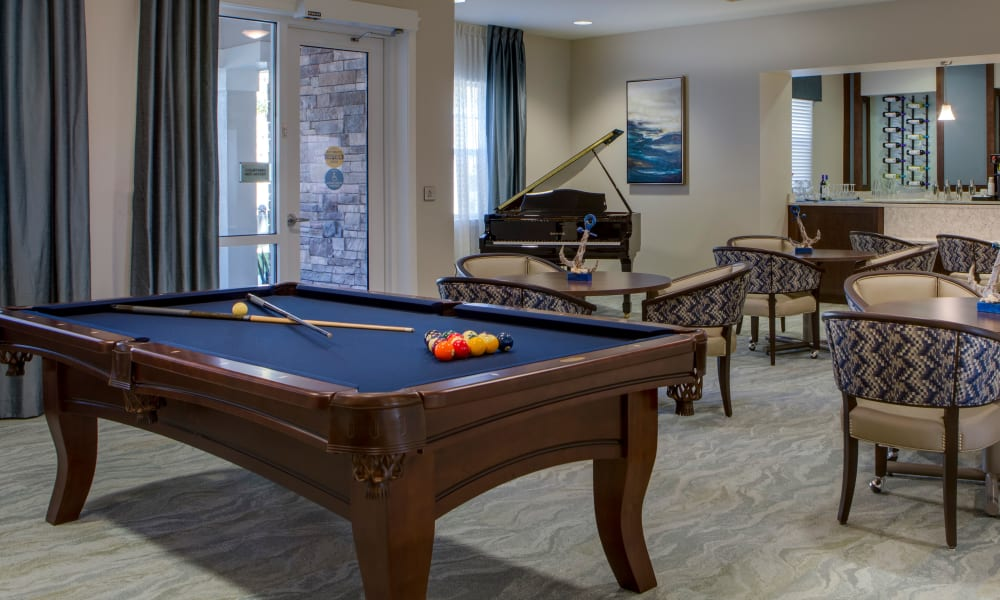 Pool table at Beach House Assisted Living & Memory Care at Wiregrass Ranch in Wesley Chapel, Florida