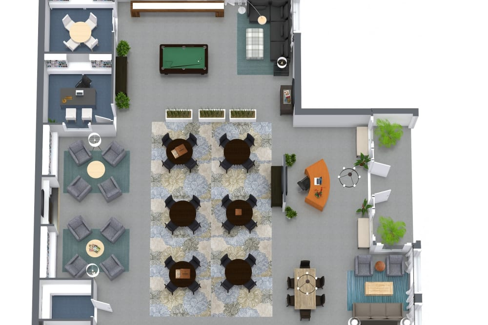 Rec center floor plan at LARC at Burien in Burien, Washington