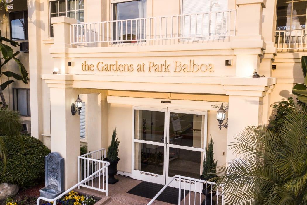 Apartments entry at The Gardens at Park Balboa in Van Nuys