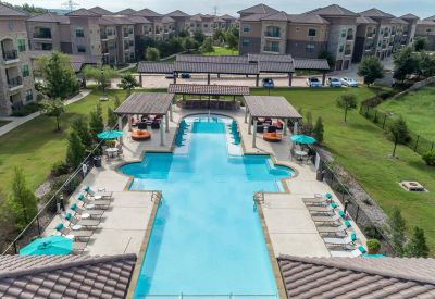 Swimming pool area at Evolv in Mansfield, Texas