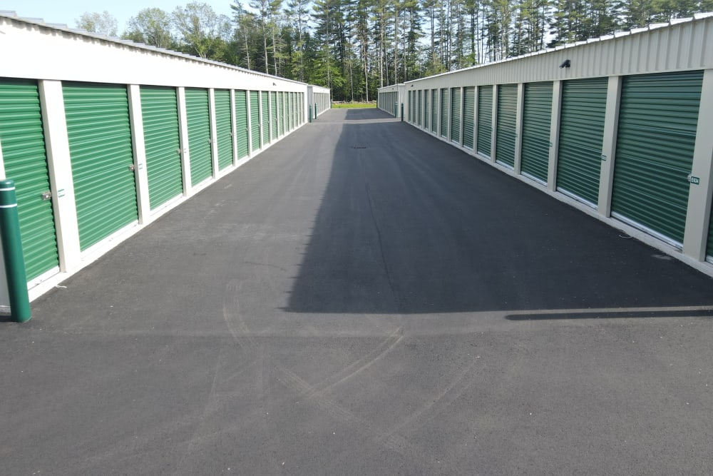 Two rows of storage units at 603 Storage - Lee in Lee, New Hampshire
