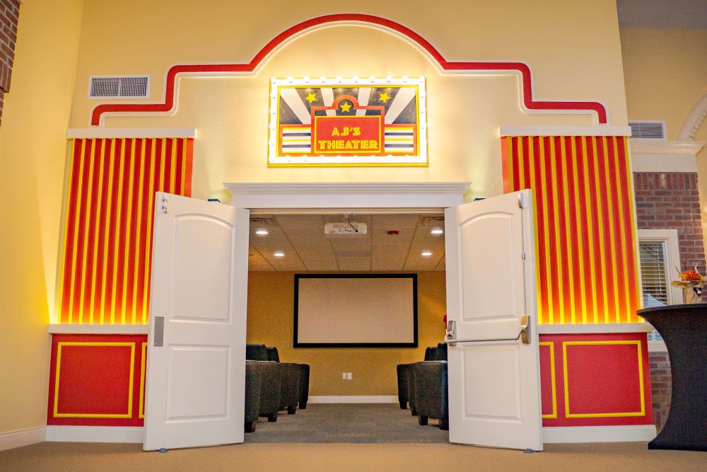 The community movie theater at Welbrook at Bloomington in Bloomington, Illinois