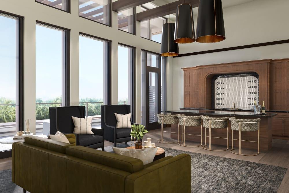 Lounge on an upper floor of Amira Minnetonka in Minnetonka, Minnesota