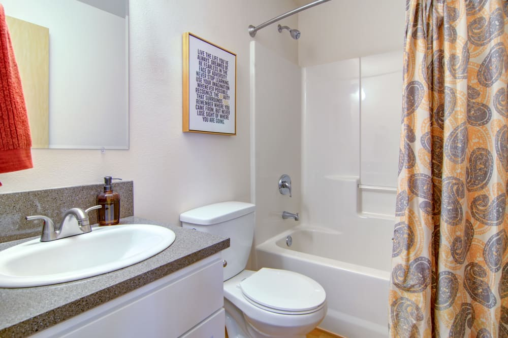 Bright and clean bathroom at The Addison Apartments in Vancouver, Washington