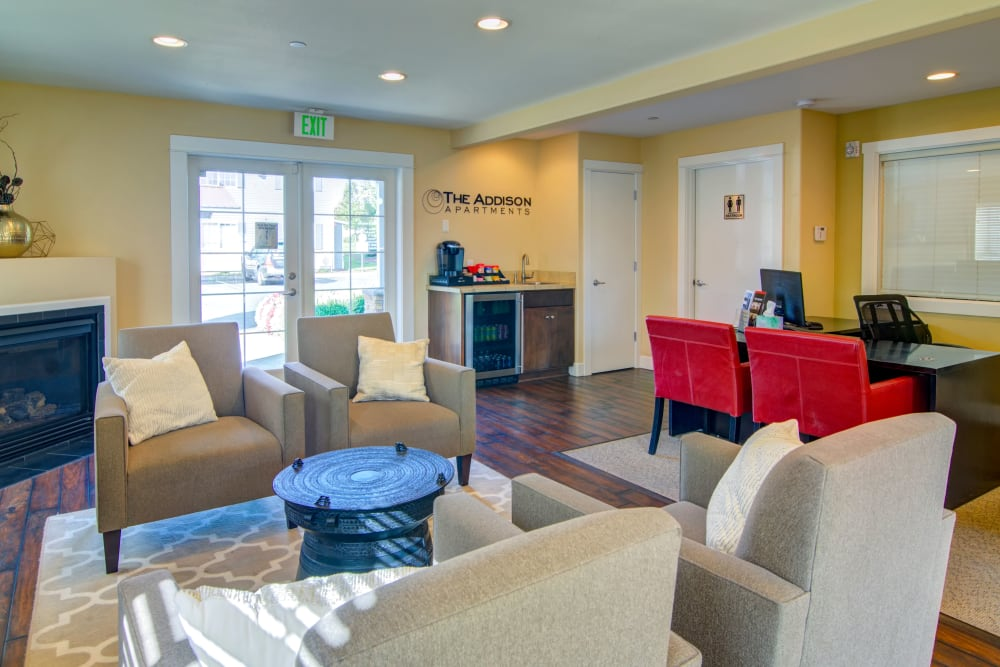 Community common area for resident use at The Addison Apartments in Vancouver, Washington