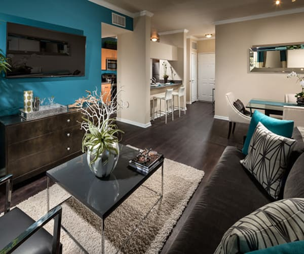 Wonderful living room at Links at Westridge in Valencia, California