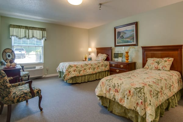 Assisted living shared apartment bedroom at Riverview Terrace in McMinnville, Tennessee