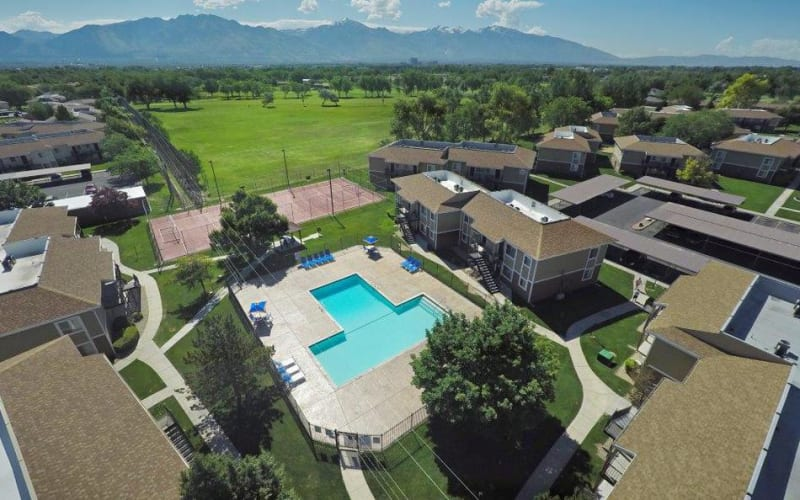 Aerial view of property and surrounding area at Callaway Apartments in Taylorsville, Utah