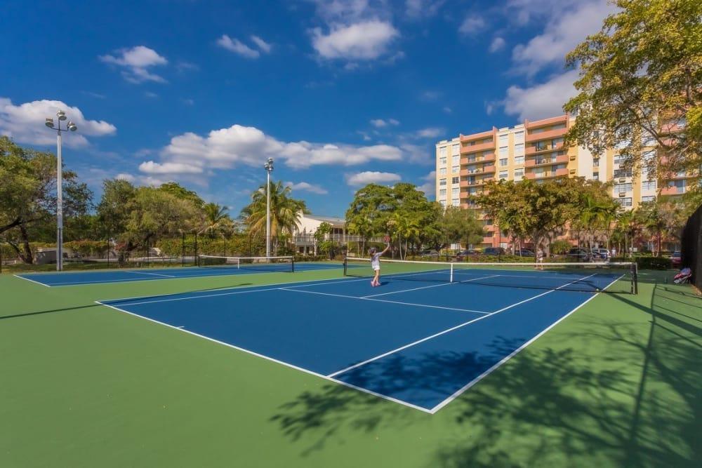Tennis courts at Aliro in North Miami, Florida