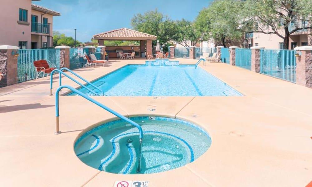 Resort-style swimming pool at Mountain View Retirement Village in Tucson, Arizona