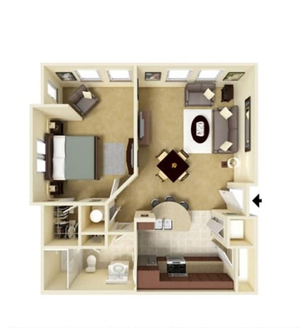 One bedroom floor plan at Integra Hills Preserve Apartments in Ooltewah, Tennessee