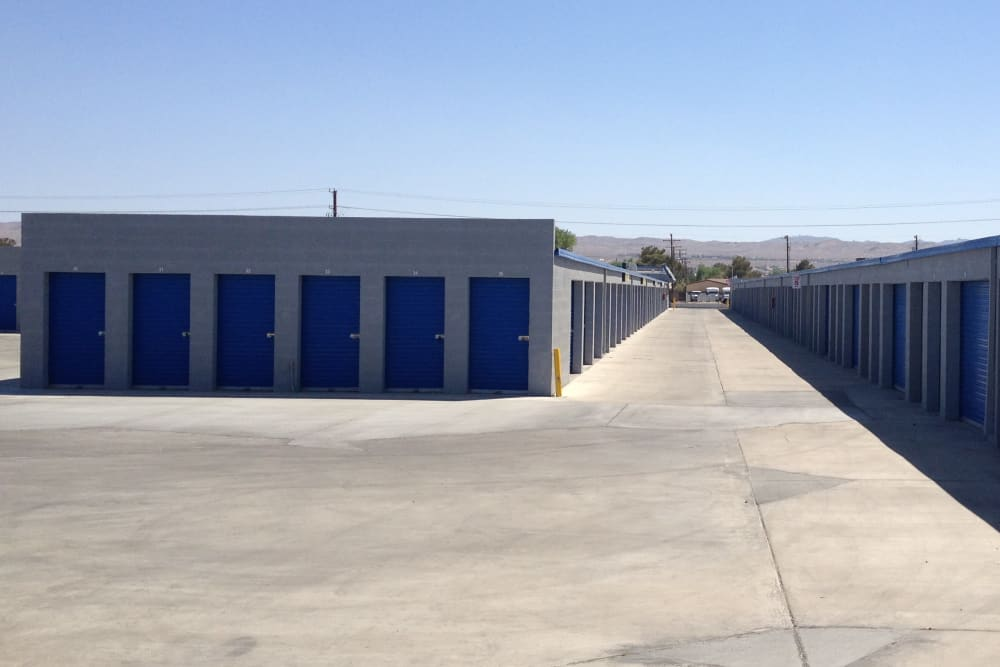 Electronic gated entrance to A-American Self Storage in Ridgecrest, California