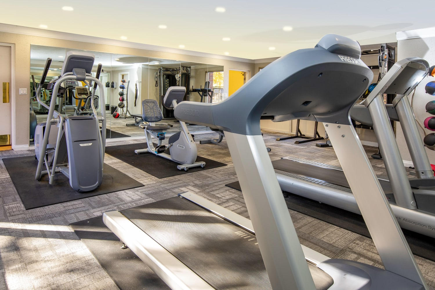 Fitness equipment at Wasatch Club Apartments in Midvale, Utah