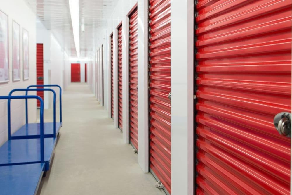 Storage units and dollies at Mini Storage Depot in Concord, North Carolina