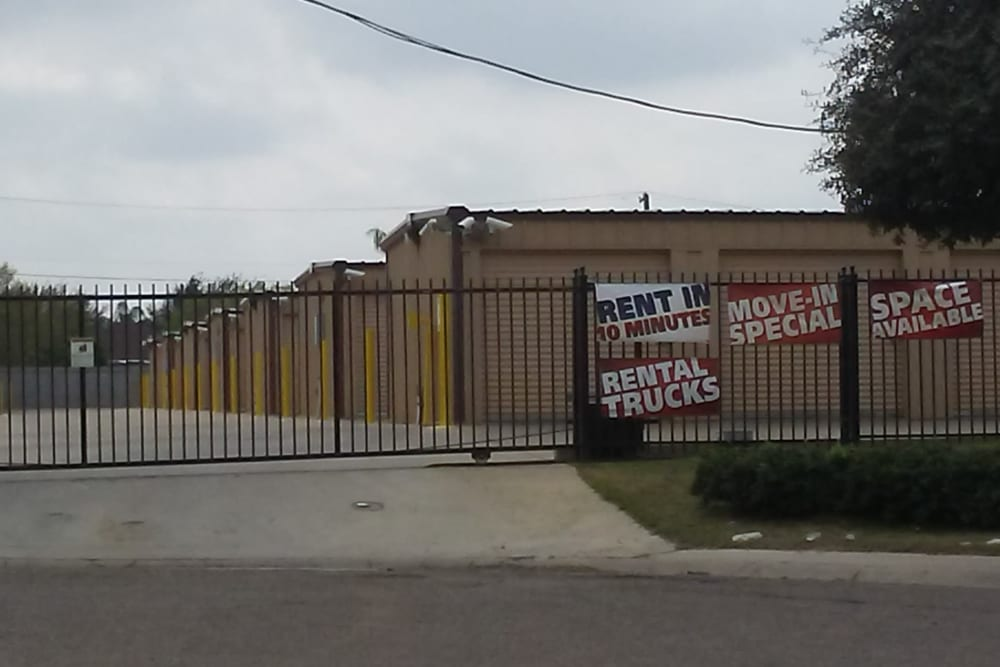 A security gate at Store It All Self Storage - Affordable in Laredo, Texas