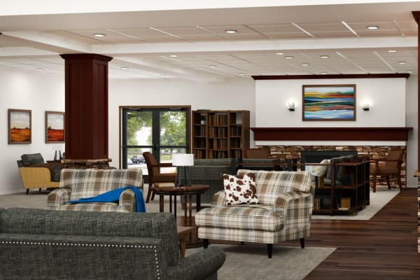 Rendering of beautiful lounge at Pine Grove Crossing in Parker, Colorado