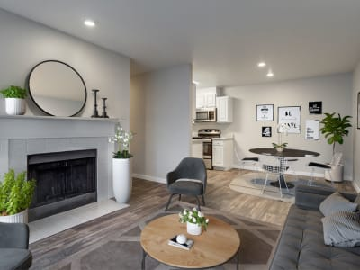 Beautifully arranged living room in model home at The Winsley