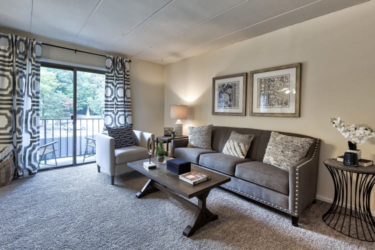 Model living room at Parkway Apartments