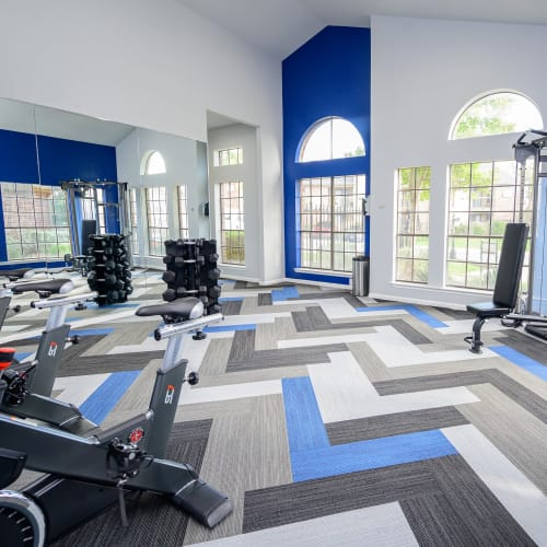 View virtual tour of our fitness center at Laurel Heights at Cityview in Fort Worth, Texas