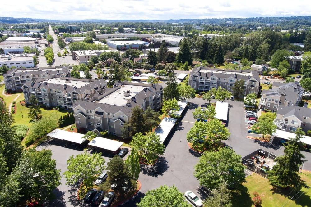 Alaire Apartments aerial view in Renton, Washington