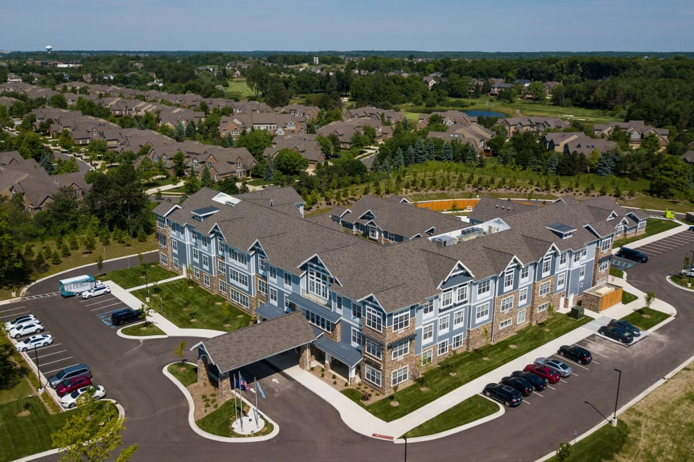 Aerial view of the main building and surrounding Anthology of Northville in Northville, Michigan
