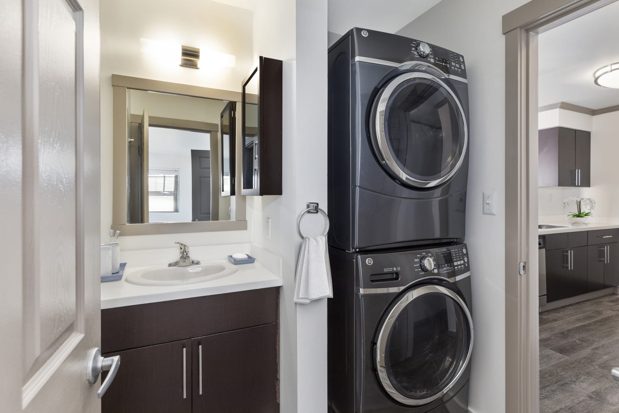 A stacked washer and dryer at Elan 41 Apartments in Seattle, Washington