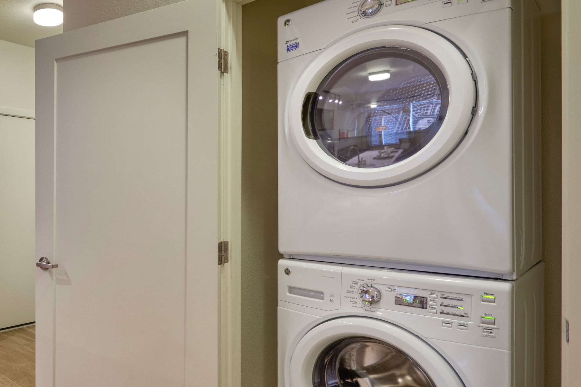 Stacked washer and dryer at an apartment at Elevate in Englewood, Colorado