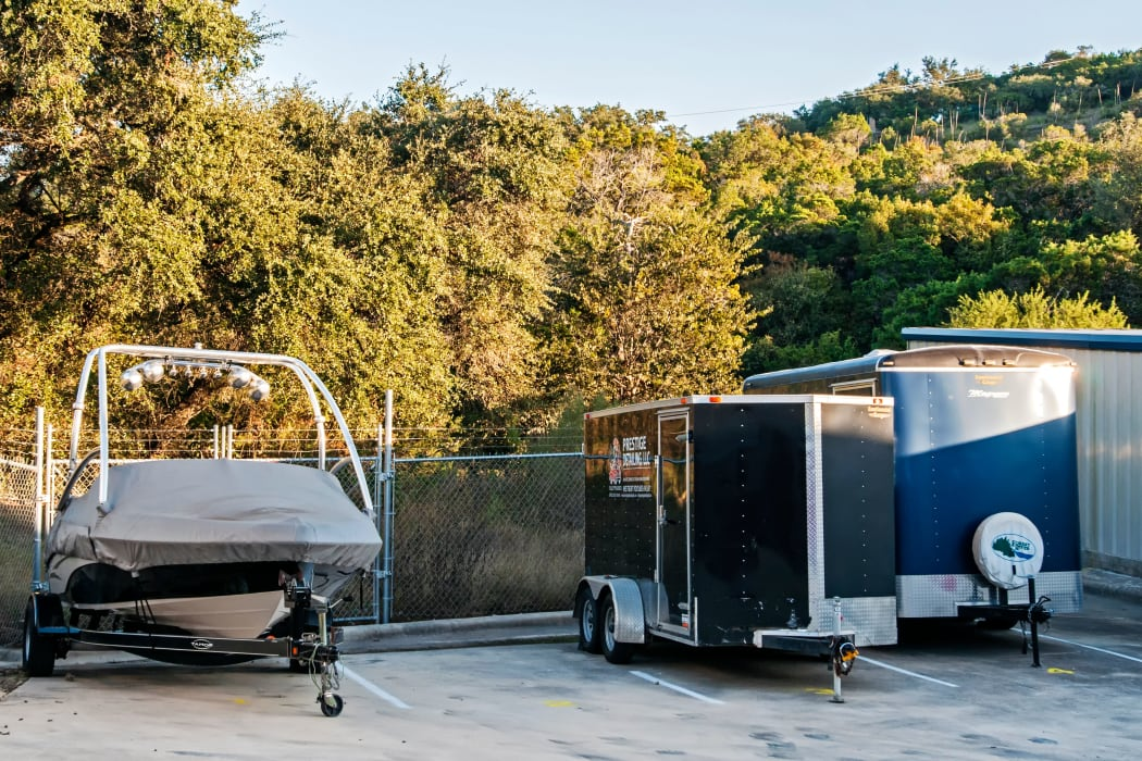 Boat and trailer parking at Lockaway Storage in San Antonio, Texas