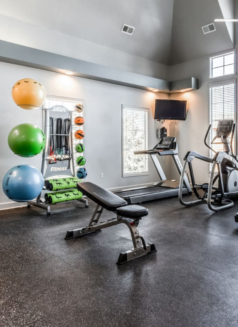 Fully equipped fitness gym for residents at The Links at Plum Creek in Castle Rock, Colorado