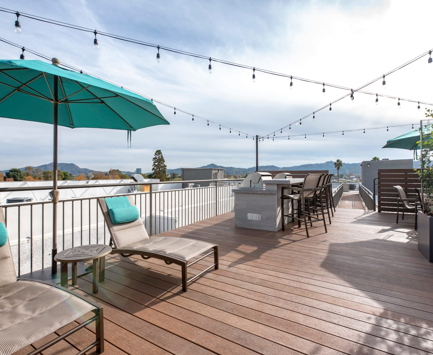 An outdoor rooftop balcony at Vue at Laurel Canyon in Valley Village, California