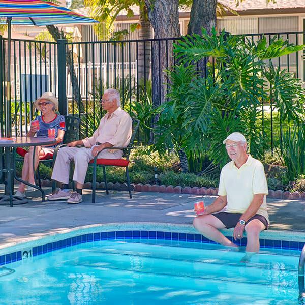Residents enjoying the pool at Monte Vista Village in Lemon Grove, California