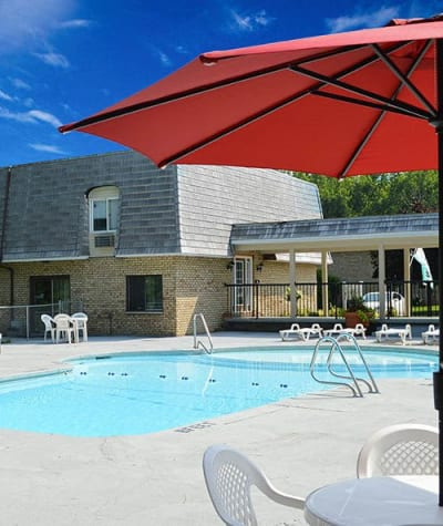 Sparkling swimming pool at Hilton Village II Apartments in Hilton, NY
