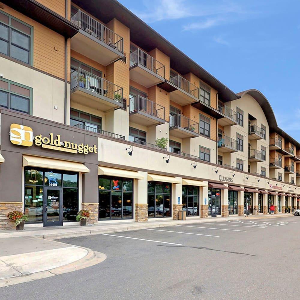 Retail shops galore on the ground floor of our community at Oaks Glen Lake in Minnetonka, Minnesota