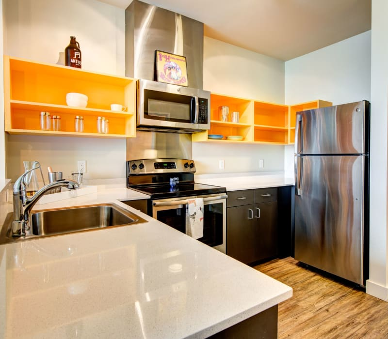 Modern kitchen with open shelves at Anthem on 12th in Seattle, Washington