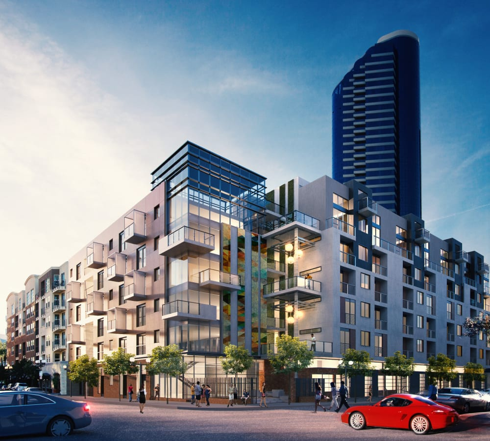 Exterior rendering of 4th + J in San Diego, California