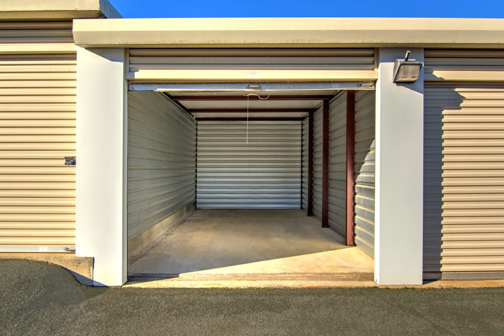 Interior Of A Outdoor Storage Unit With Roll Up Door At Prime Storage In  Dallas,
