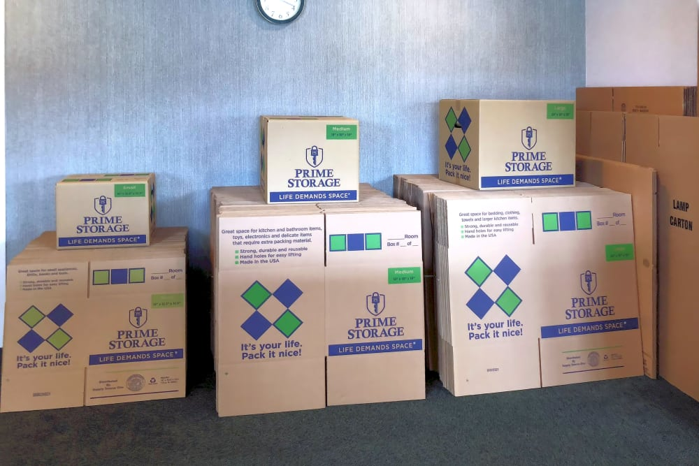 Boxes available for purchase at Capital Self Storage in Hanover, Pennsylvania
