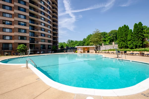 Sparkling pool at The Warwick Apartments in Silver Spring, MD