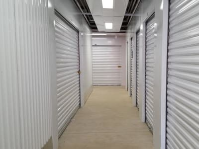Line of storage units at Monster Self Storage in Bonaire, Georgia