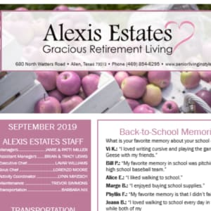 September newsletter at Alexis Estates Gracious Retirement Living in Allen, Texas