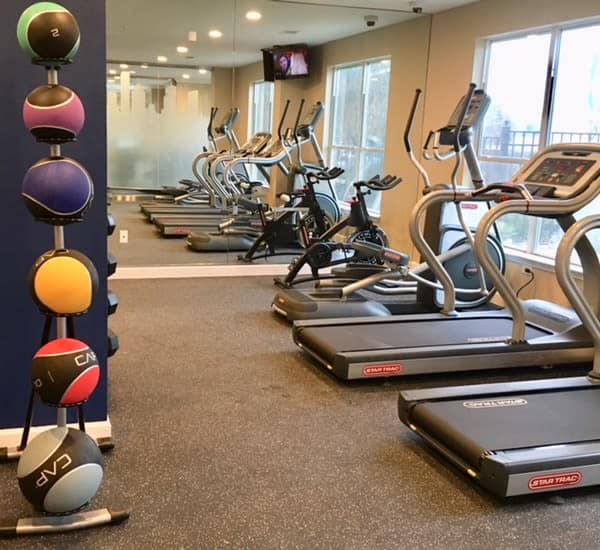 Well equipped fitness center at Parkland at West Oaks in Houston