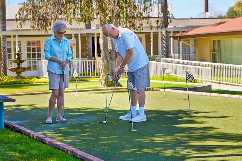 Residents playing golf at Monte Vista Village in Lemon Grove, California.