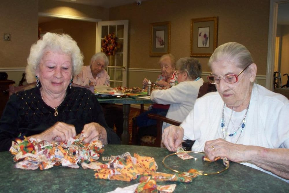 Residents crocheting at Heritage Hill Senior Community in Weatherly, Pennsylvania