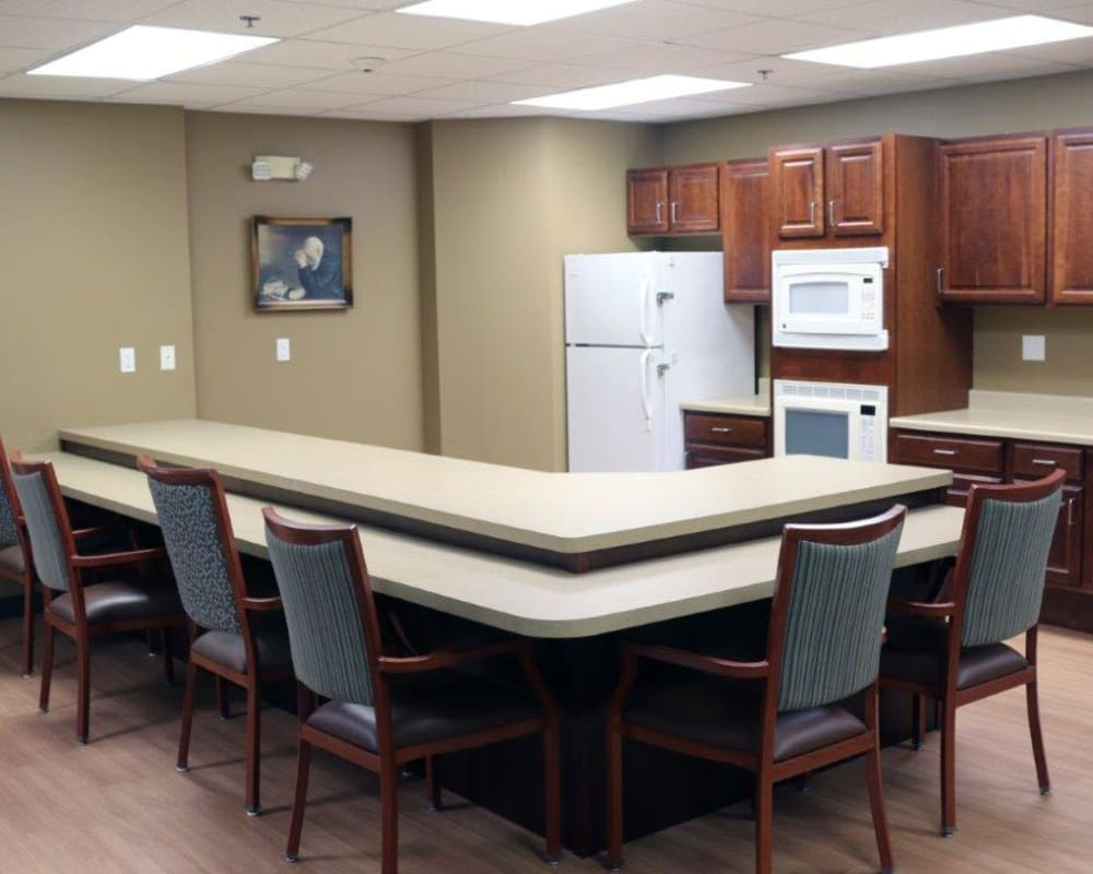 Community kitchen with a serving bar at Keelson Harbour in Spirit Lake, Iowa.