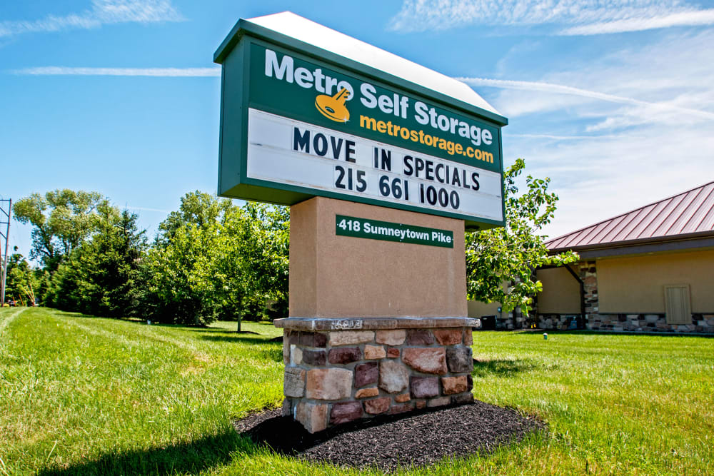 Monument sign at Metro Self Storage in North Wales, Pennsylvania