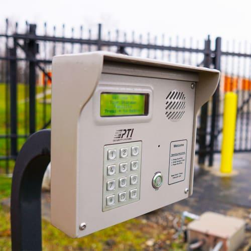 Keypad at entrance gate of Red Dot Storage in Mobile, Alabama