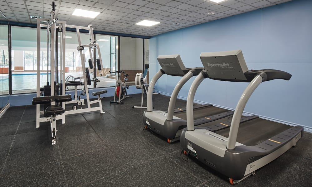 Modern fitness equipment in the gym at 10 Lisa in Brampton, Ontario
